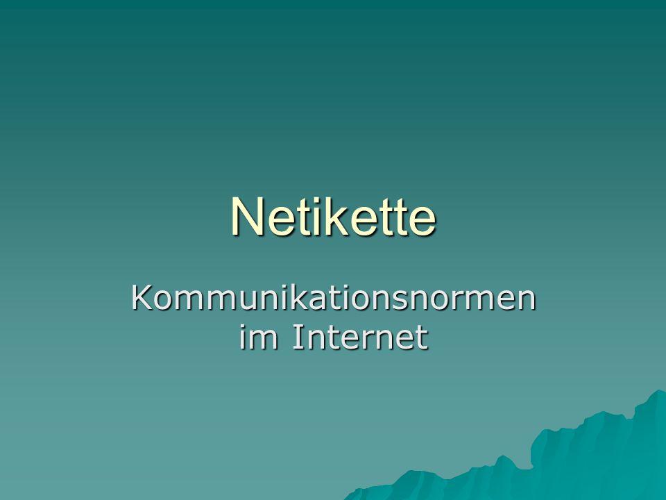 Netikette Kommunikationsnormen im Internet