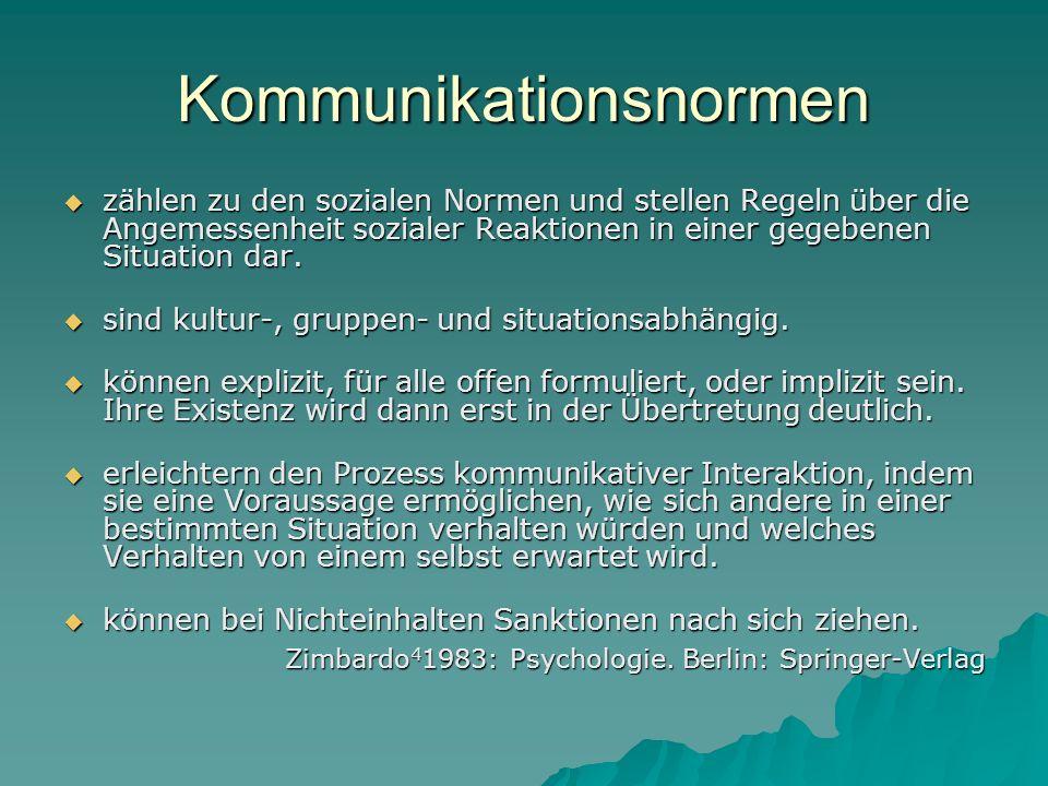 Kommunikationsnormen zählen zu den sozialen Normen und stellen Regeln über die Angemessenheit sozialer Reaktionen in einer gegebenen Situation dar. zä