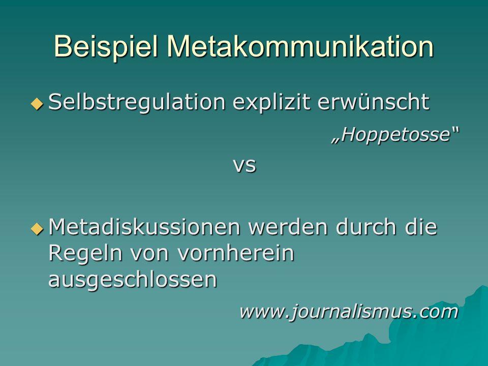 Beispiel Metakommunikation Selbstregulation explizit erwünscht Selbstregulation explizit erwünscht Hoppetosse Hoppetossevs Metadiskussionen werden dur
