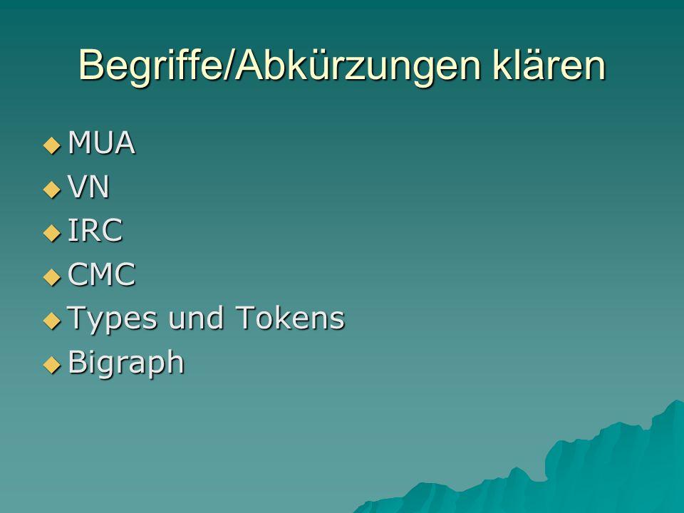 Begriffe/Abkürzungen klären MUA MUA VN VN IRC IRC CMC CMC Types und Tokens Types und Tokens Bigraph Bigraph