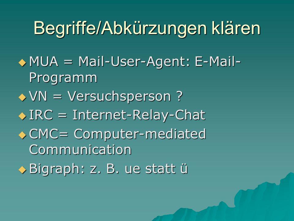 Begriffe/Abkürzungen klären MUA = Mail-User-Agent: E-Mail- Programm MUA = Mail-User-Agent: E-Mail- Programm VN = Versuchsperson ? VN = Versuchsperson