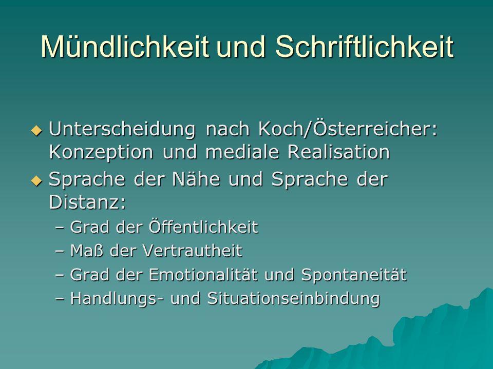 Mündlichkeit und Schriftlichkeit Unterscheidung nach Koch/Österreicher: Konzeption und mediale Realisation Unterscheidung nach Koch/Österreicher: Konz