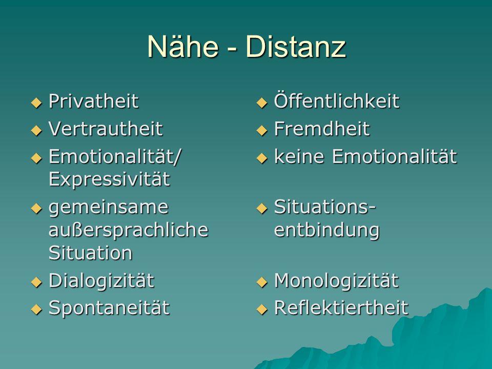 Nähe - Distanz Privatheit Privatheit Vertrautheit Vertrautheit Emotionalität/ Expressivität Emotionalität/ Expressivität gemeinsame außersprachliche S