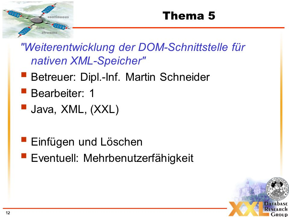 12 Thema 5 Weiterentwicklung der DOM-Schnittstelle für nativen XML-Speicher Betreuer: Dipl.-Inf.