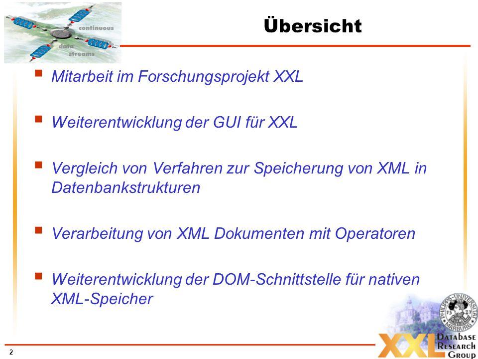 2 Übersicht Mitarbeit im Forschungsprojekt XXL Weiterentwicklung der GUI für XXL Vergleich von Verfahren zur Speicherung von XML in Datenbankstrukturen Verarbeitung von XML Dokumenten mit Operatoren Weiterentwicklung der DOM-Schnittstelle für nativen XML-Speicher