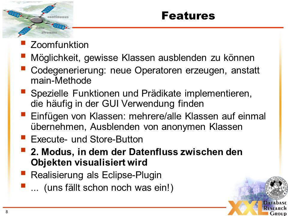 8 Features Zoomfunktion Möglichkeit, gewisse Klassen ausblenden zu können Codegenerierung: neue Operatoren erzeugen, anstatt main-Methode Spezielle Funktionen und Prädikate implementieren, die häufig in der GUI Verwendung finden Einfügen von Klassen: mehrere/alle Klassen auf einmal übernehmen, Ausblenden von anonymen Klassen Execute- und Store-Button 2.