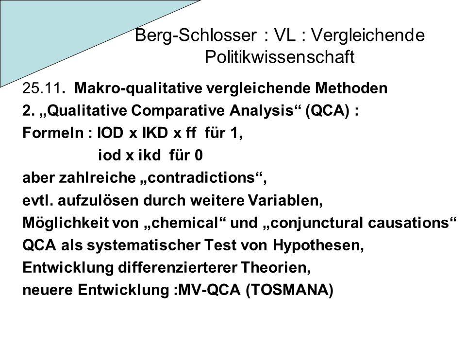 Berg-Schlosser : VL : Vergleichende Politikwissenschaft 25.11. Makro-qualitative vergleichende Methoden 2. Qualitative Comparative Analysis (QCA) : Fo