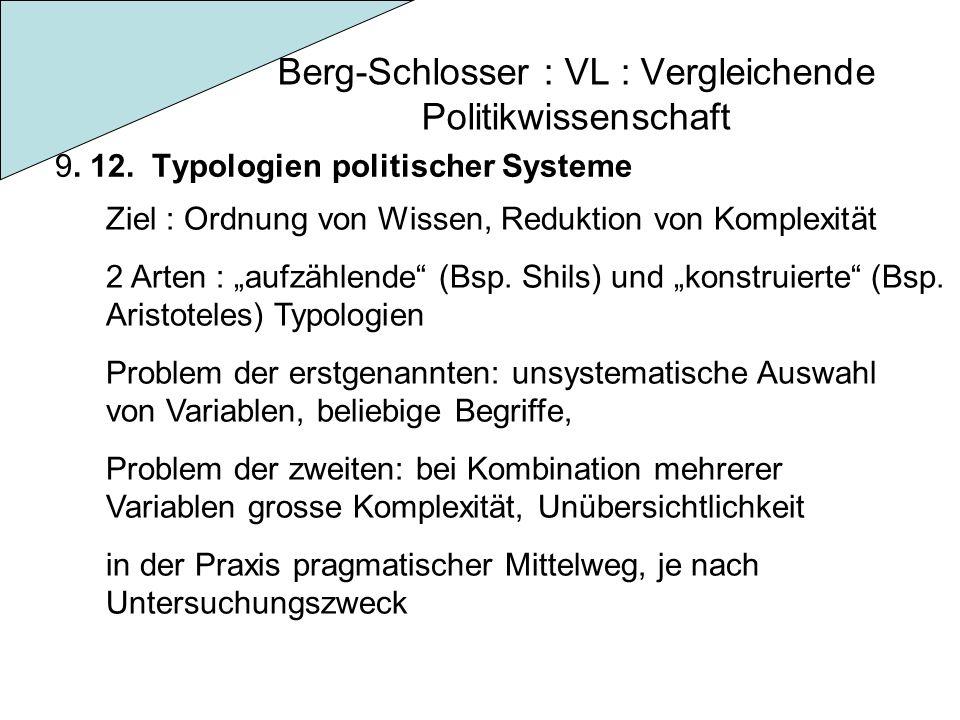 Berg-Schlosser : VL : Vergleichende Politikwissenschaft 9. 12. Typologien politischer Systeme Ziel : Ordnung von Wissen, Reduktion von Komplexität 2 A