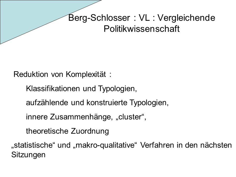 Berg-Schlosser : VL : Vergleichende Politikwissenschaft Reduktion von Komplexität : Klassifikationen und Typologien, aufzählende und konstruierte Typologien, innere Zusammenhänge, cluster, theoretische Zuordnung statistische und makro-qualitative Verfahren in den nächsten Sitzungen