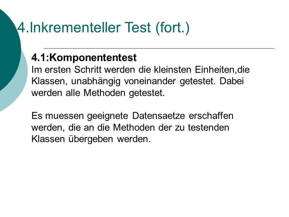 4.Inkrementeller Test (fort.) 4.1:Komponententest Im ersten Schritt werden die kleinsten Einheiten,die Klassen, unabhängig voneinander getestet.