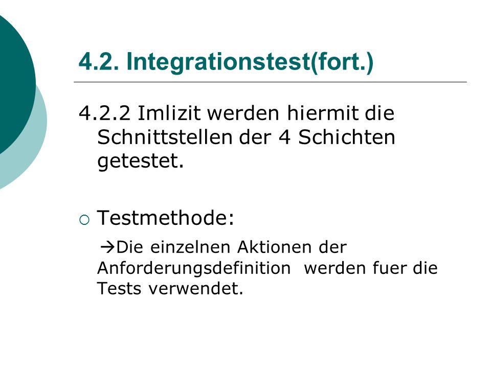 4.2. Integrationstest(fort.) 4.2.2 Imlizit werden hiermit die Schnittstellen der 4 Schichten getestet. Testmethode: Die einzelnen Aktionen der Anforde