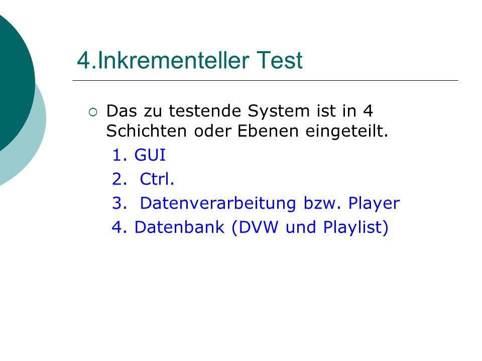 4.Inkrementeller Test Das zu testende System ist in 4 Schichten oder Ebenen eingeteilt.