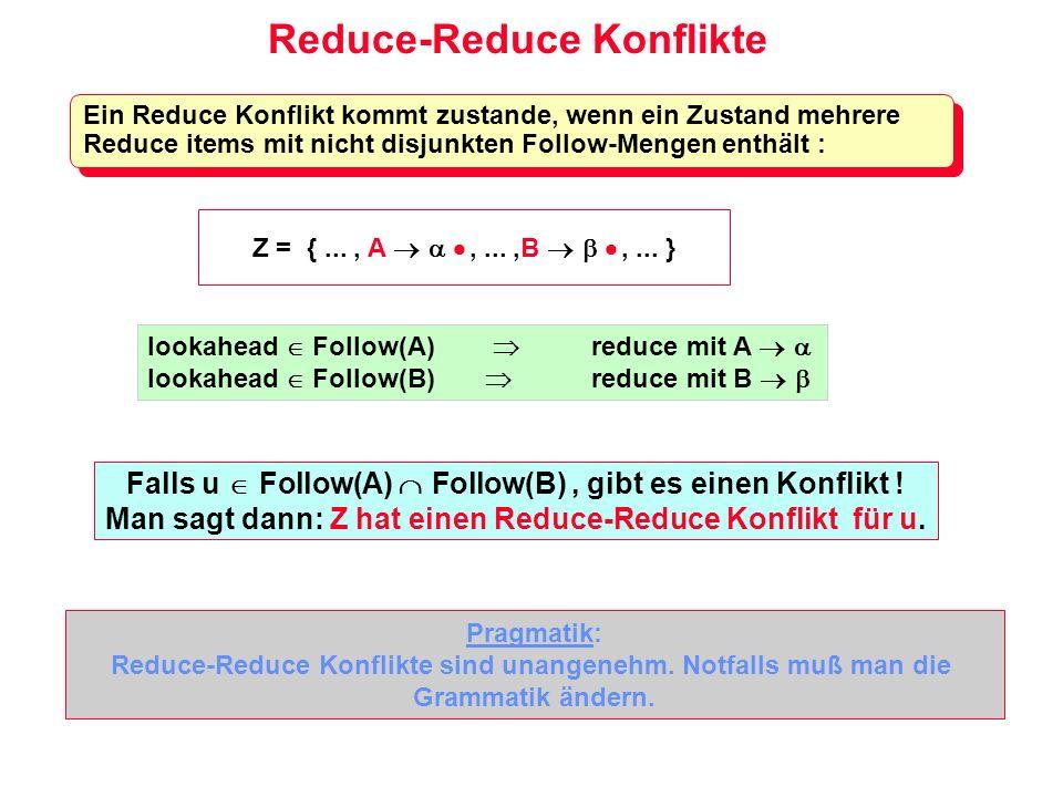 Reduce-Reduce Konflikte Ein Reduce Konflikt kommt zustande, wenn ein Zustand mehrere Reduce items mit nicht disjunkten Follow-Mengen enthält : Z = {..