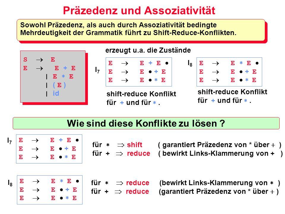 Präzedenz und Assoziativität Sowohl Präzedenz, als auch durch Assoziativität bedingte Mehrdeutigkeit der Grammatik führt zu Shift-Reduce-Konflikten. E