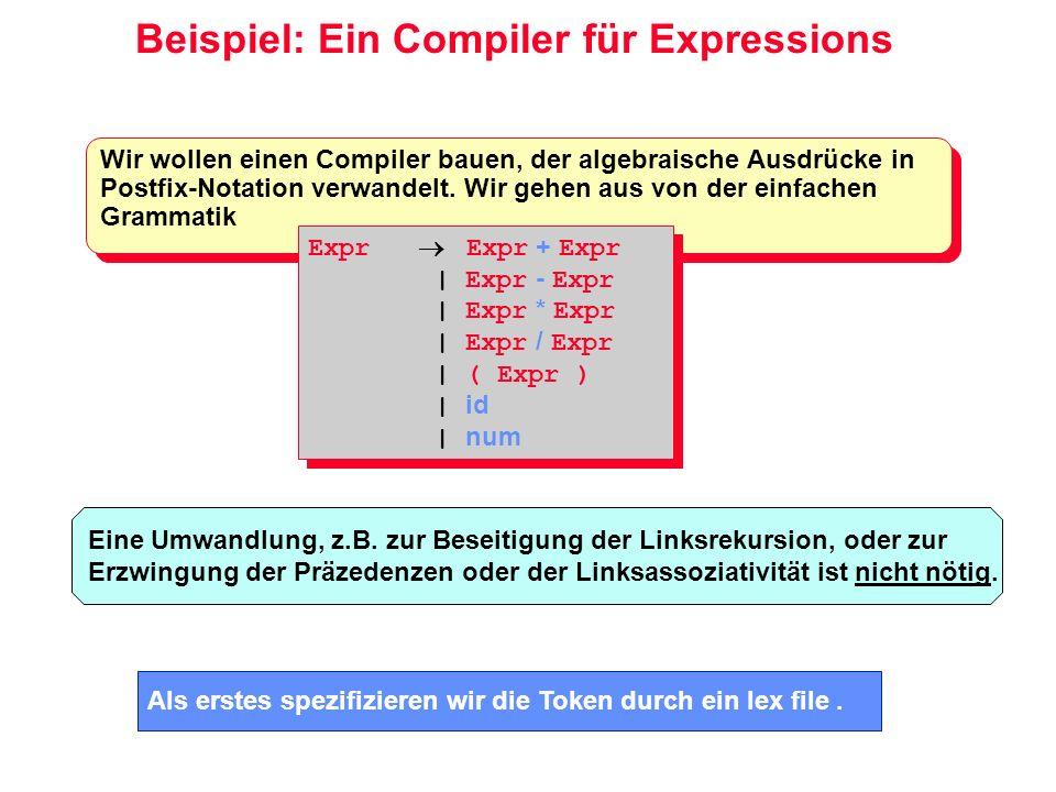 Beispiel: Ein Compiler für Expressions Wir wollen einen Compiler bauen, der algebraische Ausdrücke in Postfix-Notation verwandelt. Wir gehen aus von d