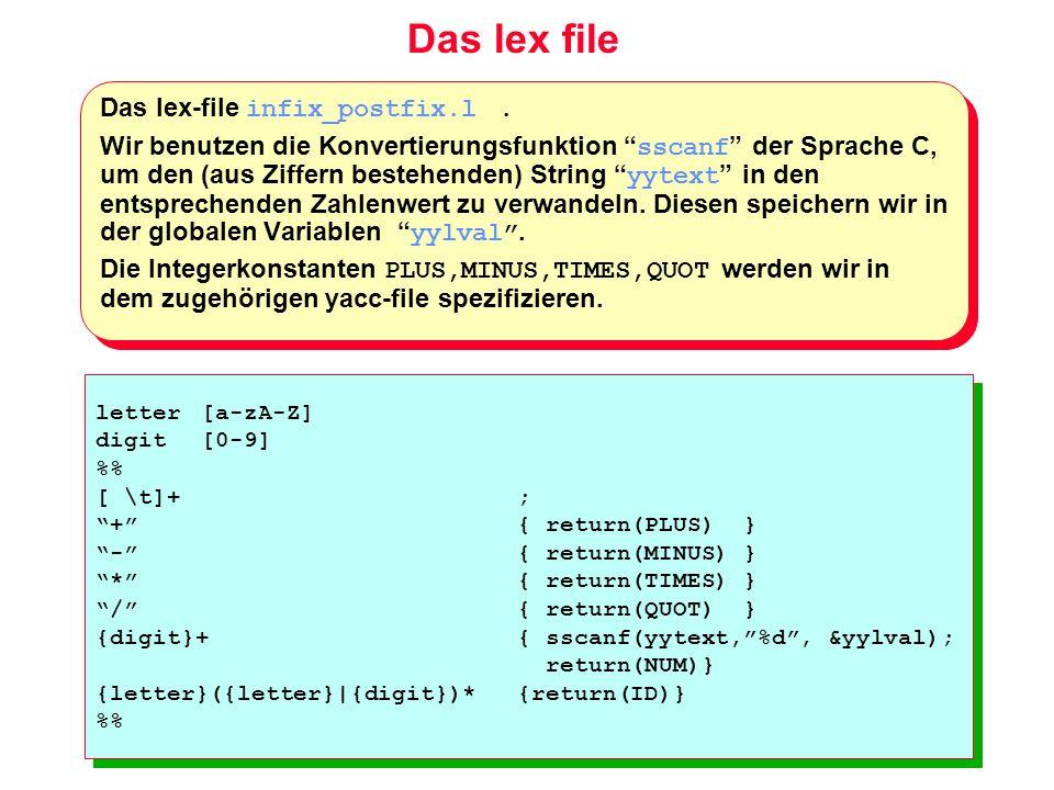 Das lex file Das lex-file infix_postfix.l. Wir benutzen die Konvertierungsfunktion sscanf der Sprache C, um den (aus Ziffern bestehenden) String yytex