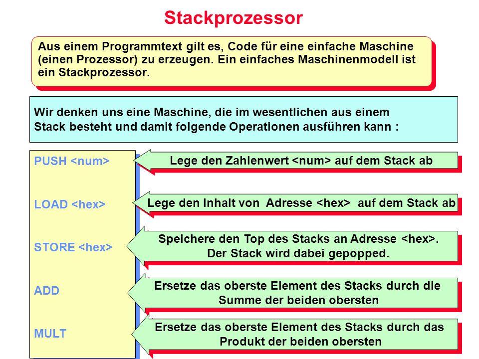 Stackprozessor Aus einem Programmtext gilt es, Code für eine einfache Maschine (einen Prozessor) zu erzeugen. Ein einfaches Maschinenmodell ist ein St