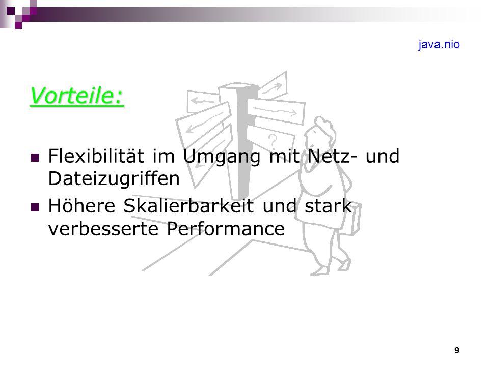 9 java.nio Vorteile: Flexibilität im Umgang mit Netz- und Dateizugriffen Höhere Skalierbarkeit und stark verbesserte Performance