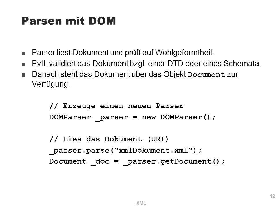 12 XML Parsen mit DOM Parser liest Dokument und prüft auf Wohlgeformtheit. Evtl. validiert das Dokument bzgl. einer DTD oder eines Schemata. Danach st
