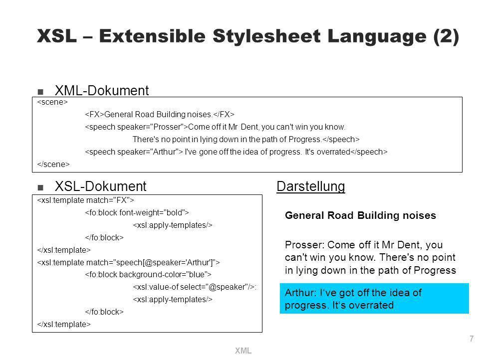 8 XML XML – Wozu.