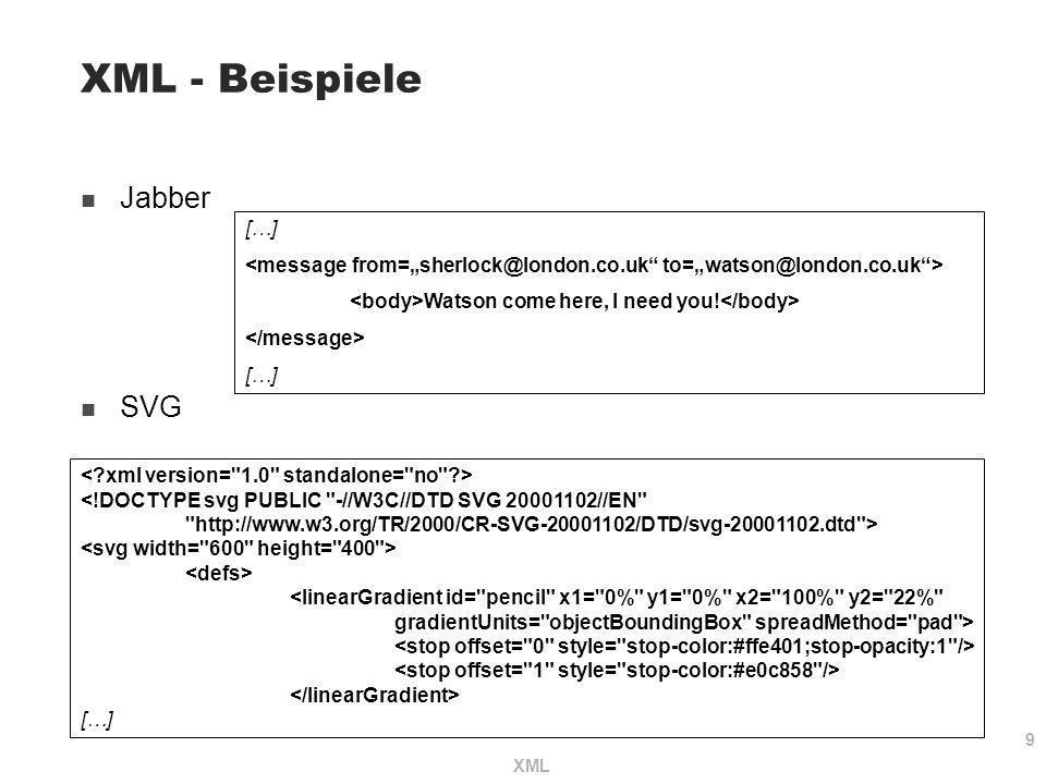 9 XML XML - Beispiele Jabber SVG <!DOCTYPE svg PUBLIC