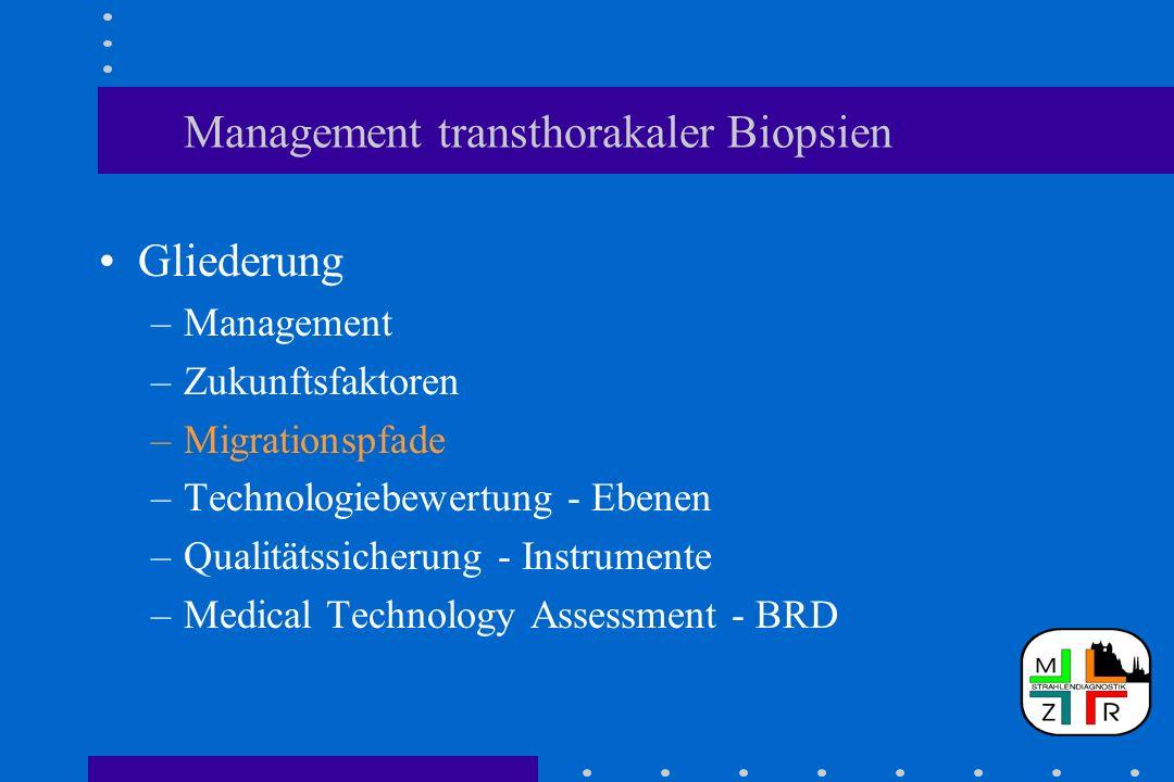 Management transthorakaler Biopsien Gliederung –Management –Zukunftsfaktoren –Migrationspfade –Technologiebewertung - Ebenen –Qualitätssicherung - Ins