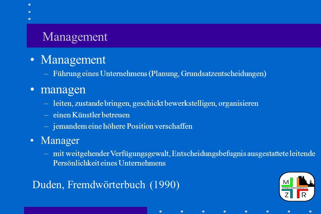 Management –Führung eines Unternehmens (Planung, Grundsatzentscheidungen) managen –leiten, zustande bringen, geschickt bewerkstelligen, organisieren –einen Künstler betreuen –jemandem eine höhere Position verschaffen Manager –mit weitgehender Verfügungsgewalt, Entscheidungsbefugnis ausgestattete leitende Persönlichkeit eines Unternehmens 2Duden, Fremdwörtert Duden, Fremdwörterbuch (1990)