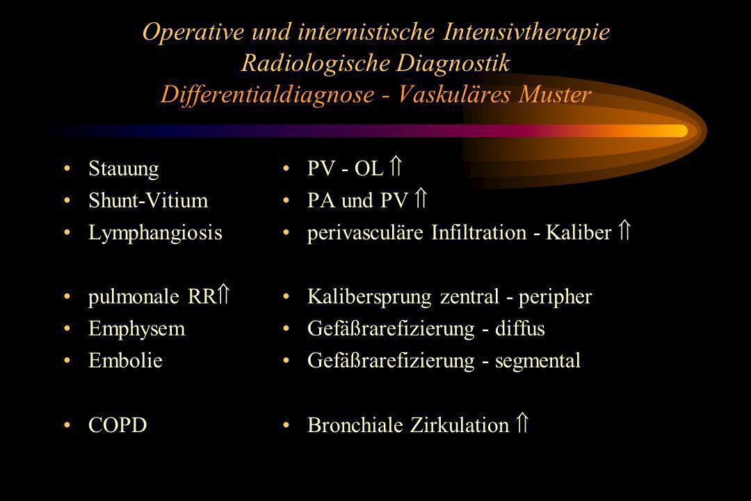 Operative und internistische Intensivtherapie Radiologische Diagnostik Differentialdiagnose - Vaskuläres Muster Stauung Shunt-Vitium Lymphangiosis pul