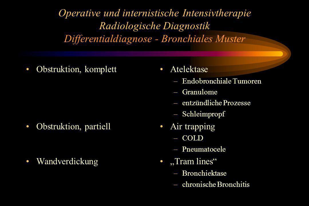 Operative und internistische Intensivtherapie Radiologische Diagnostik Differentialdiagnose - Bronchiales Muster Obstruktion, komplett Obstruktion, pa