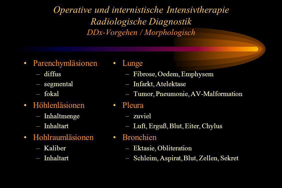 Operative und internistische Intensivtherapie Radiologische Diagnostik DDx-Vorgehen / Morphologisch Parenchymläsionen –diffus –segmental –fokal Höhlen