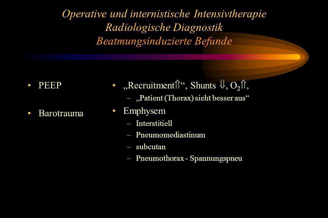 Operative und internistische Intensivtherapie Radiologische Diagnostik Beatmungsinduzierte Befunde PEEP Barotrauma Recruitment, Shunts, O 2, –Patient