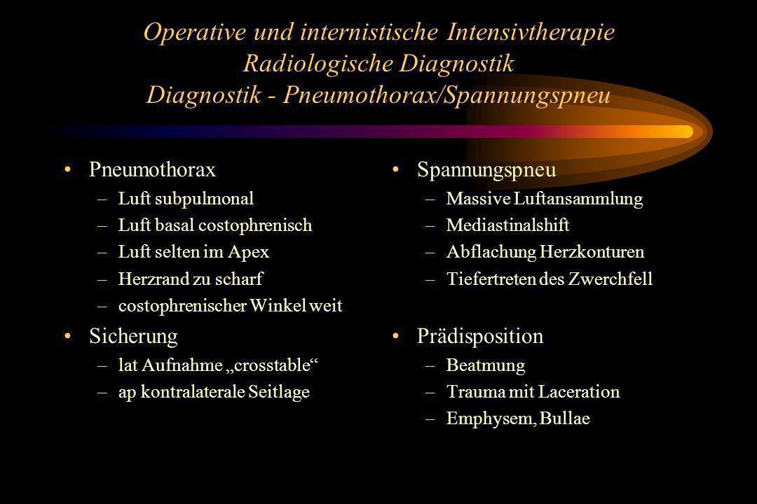 Operative und internistische Intensivtherapie Radiologische Diagnostik Diagnostik - Pneumothorax/Spannungspneu Pneumothorax –Luft subpulmonal –Luft ba