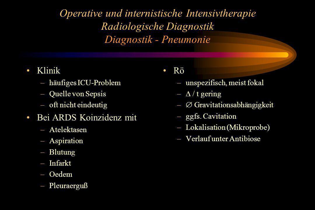 Operative und internistische Intensivtherapie Radiologische Diagnostik Diagnostik - Pneumonie Klinik –häufiges ICU-Problem –Quelle von Sepsis –oft nic