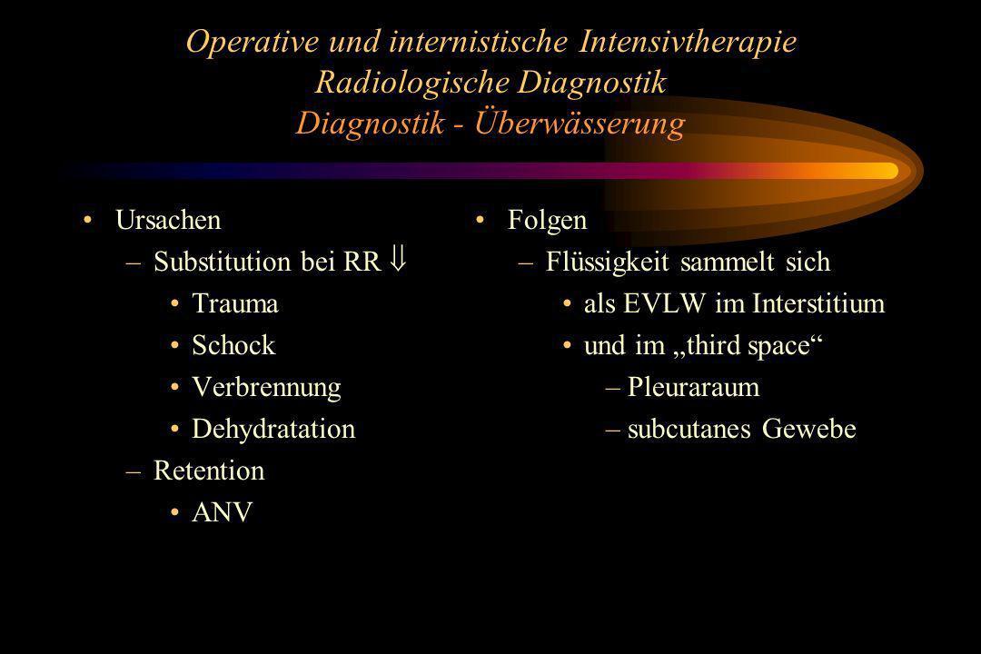 Operative und internistische Intensivtherapie Radiologische Diagnostik Diagnostik - Überwässerung Ursachen –Substitution bei RR Trauma Schock Verbrenn