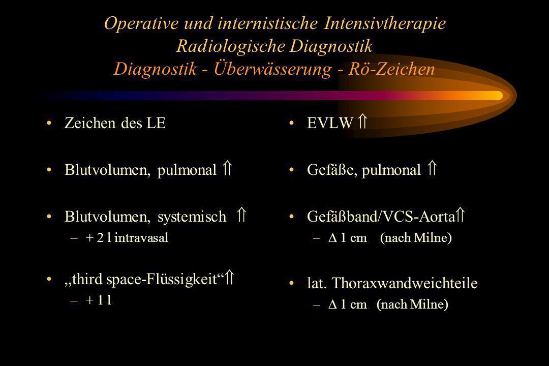 Operative und internistische Intensivtherapie Radiologische Diagnostik Diagnostik - Überwässerung - Rö-Zeichen Zeichen des LE Blutvolumen, pulmonal Bl