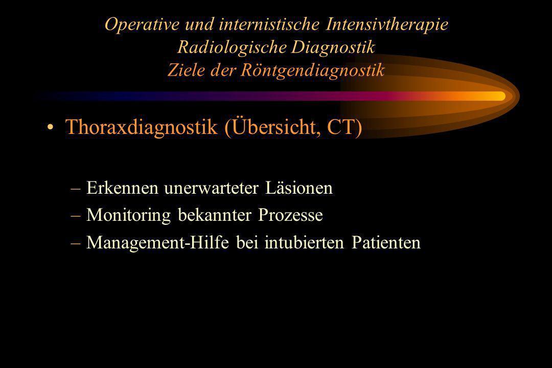 Operative und internistische Intensivtherapie Radiologische Diagnostik Ziele der Röntgendiagnostik Thoraxdiagnostik (Übersicht, CT) –Erkennen unerwart