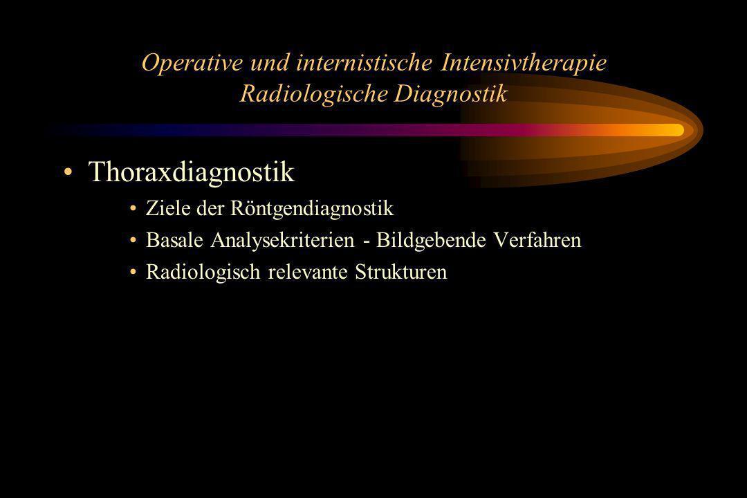 Operative und internistische Intensivtherapie Radiologische Diagnostik Thoraxdiagnostik Ziele der Röntgendiagnostik Basale Analysekriterien - Bildgebe