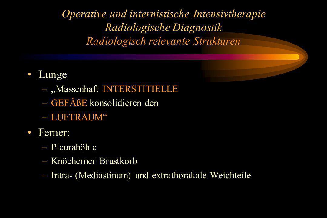 Operative und internistische Intensivtherapie Radiologische Diagnostik Radiologisch relevante Strukturen Lunge –Massenhaft INTERSTITIELLE –GEFÄßE kons