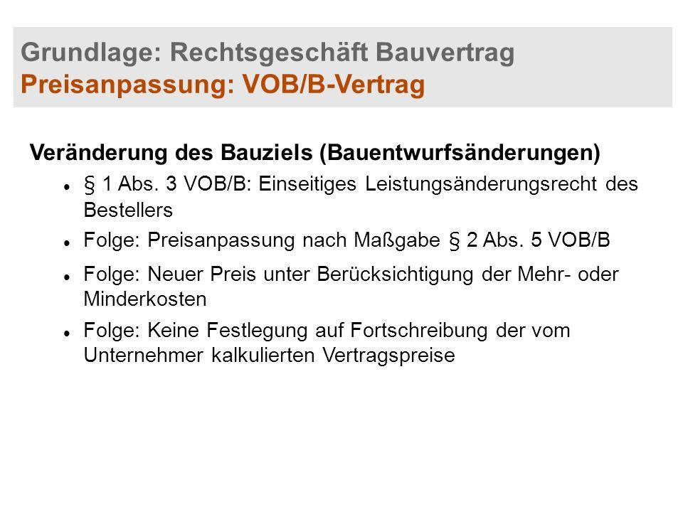 Grundlage: Rechtsgeschäft Bauvertrag Preisanpassung: VOB/B-Vertrag Veränderung des Bauziels (Bauentwurfsänderungen) § 1 Abs. 3 VOB/B: Einseitiges Leis