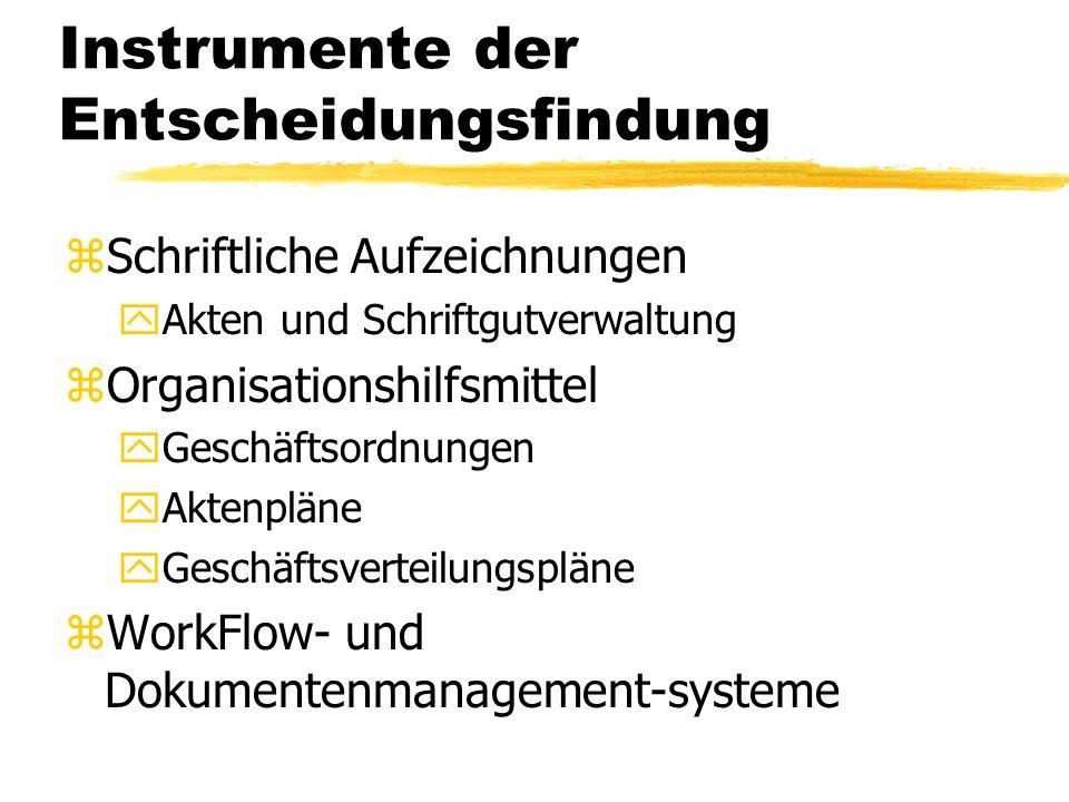Instrumente der Entscheidungsfindung zSchriftliche Aufzeichnungen yAkten und Schriftgutverwaltung zOrganisationshilfsmittel yGeschäftsordnungen yAktenpläne yGeschäftsverteilungspläne zWorkFlow- und Dokumentenmanagement-systeme