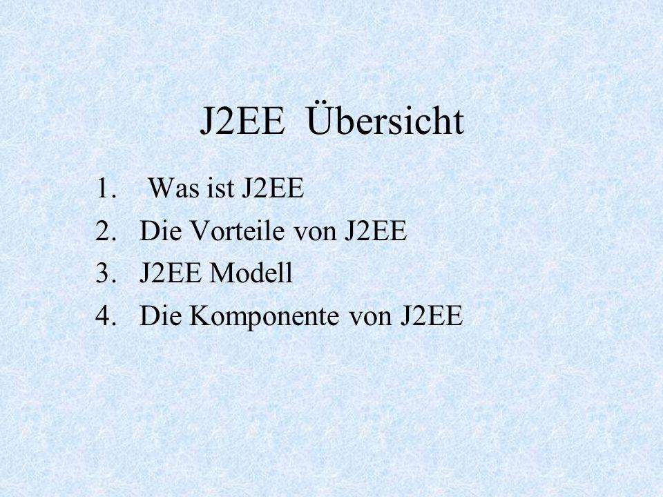 J2EE Übersicht 1. Was ist J2EE 2.Die Vorteile von J2EE 3.J2EE Modell 4.Die Komponente von J2EE