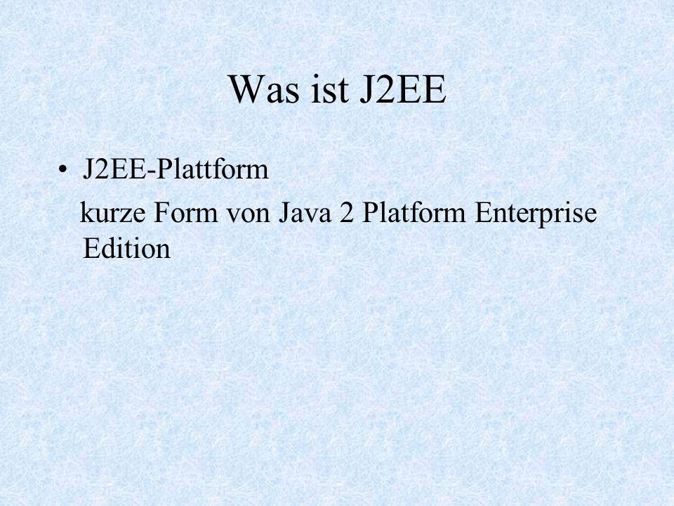 Die Vorteile von J2EE Plattformunabhängigkeit Standardisierung und Anbieterunabhängigkeit Geschwindigkeit Multi-Tier Anwendungen Enterprise Application Intergration