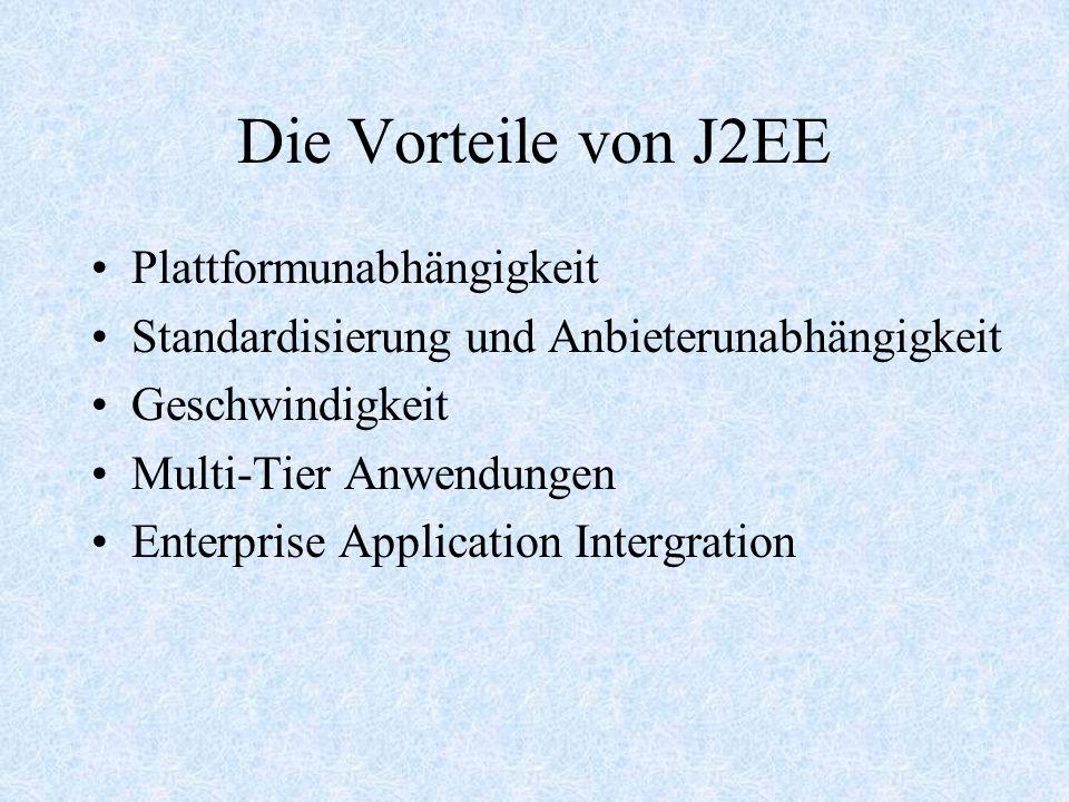 J2EE Modell Verteilte Mulittier Applikation Die auf das Kunde Maschine laufende Client-tier Komponente Die auf J2EE Serve laufende Web-tier Komponente Die auf J2EE Serve laufende Business-tier Komponente Die auf EIS Serve laufende Enterprise Information System –tier Software