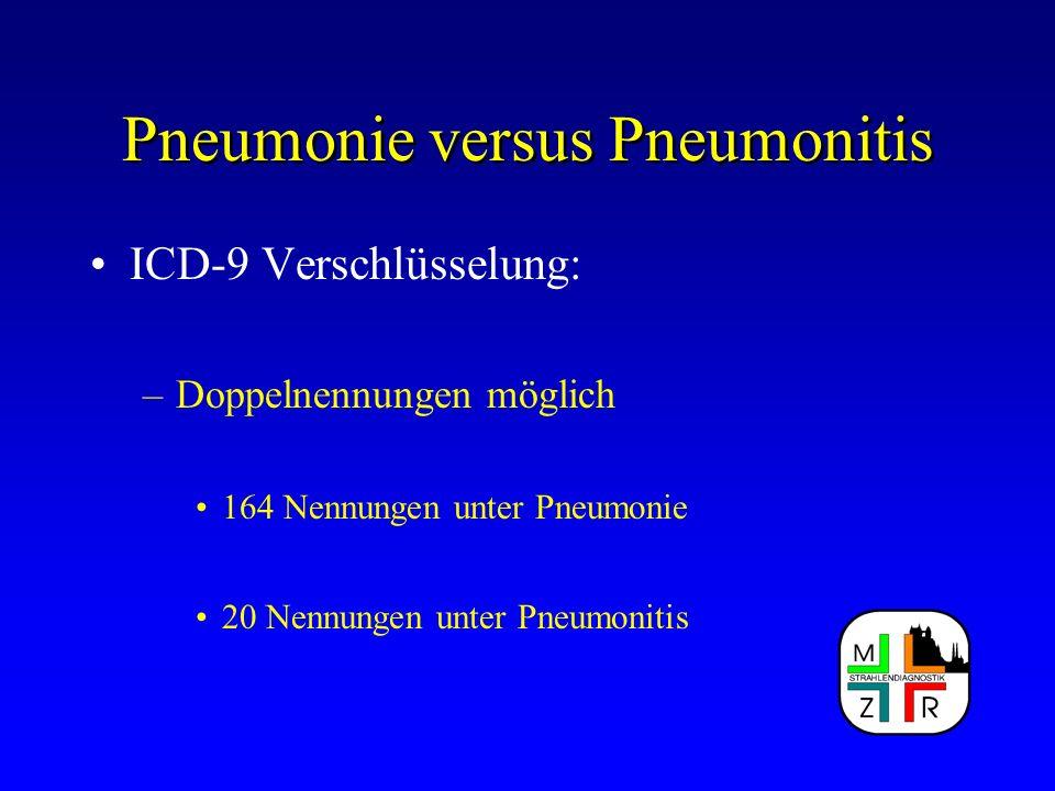 Pneumonie versus Pneumonitis ICD-9 Verschlüsselung: –Doppelnennungen möglich 164 Nennungen unter Pneumonie 20 Nennungen unter Pneumonitis