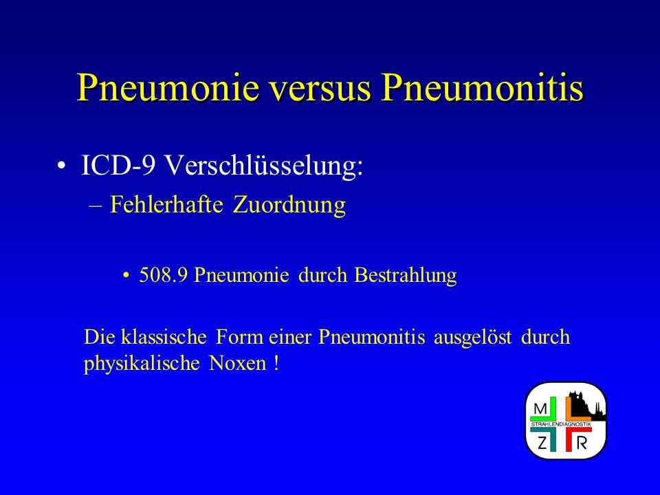 Pneumonie versus Pneumonitis ICD-9 Verschlüsselung: –Fehlerhafte Zuordnung 508.9 Pneumonie durch Bestrahlung Die klassische Form einer Pneumonitis aus