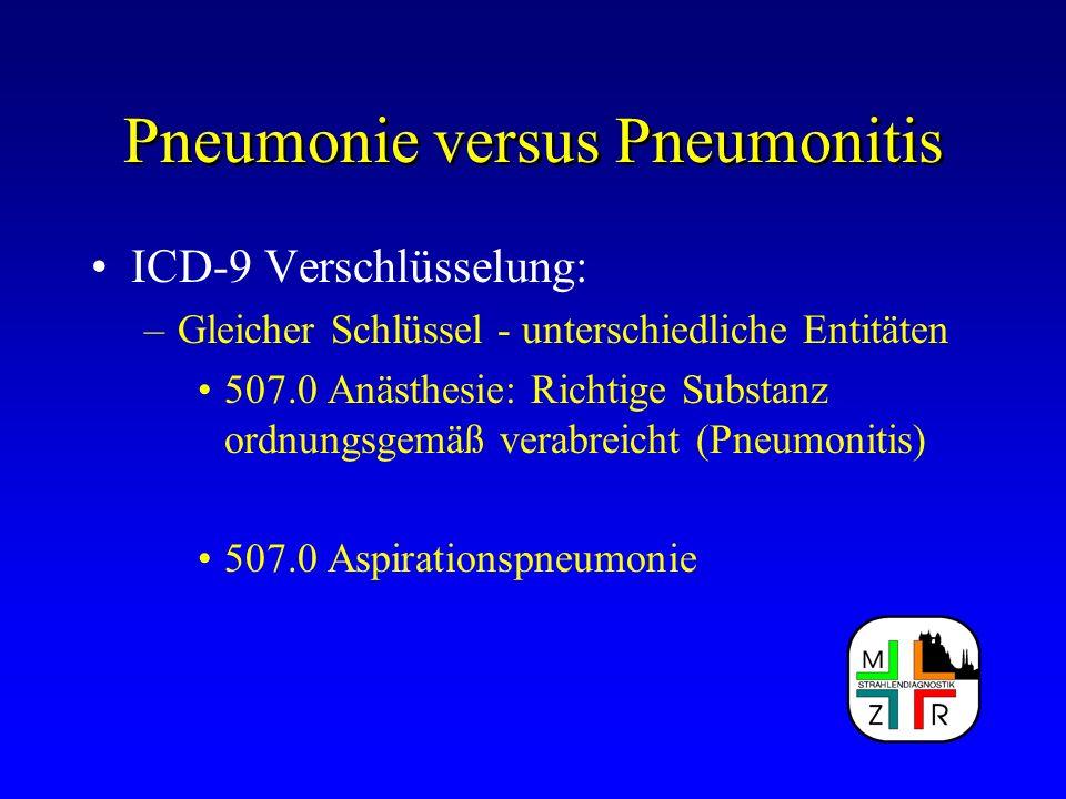 Pneumonie versus Pneumonitis ICD-9 Verschlüsselung: –Gleicher Schlüssel - unterschiedliche Entitäten 507.0 Anästhesie: Richtige Substanz ordnungsgemäß
