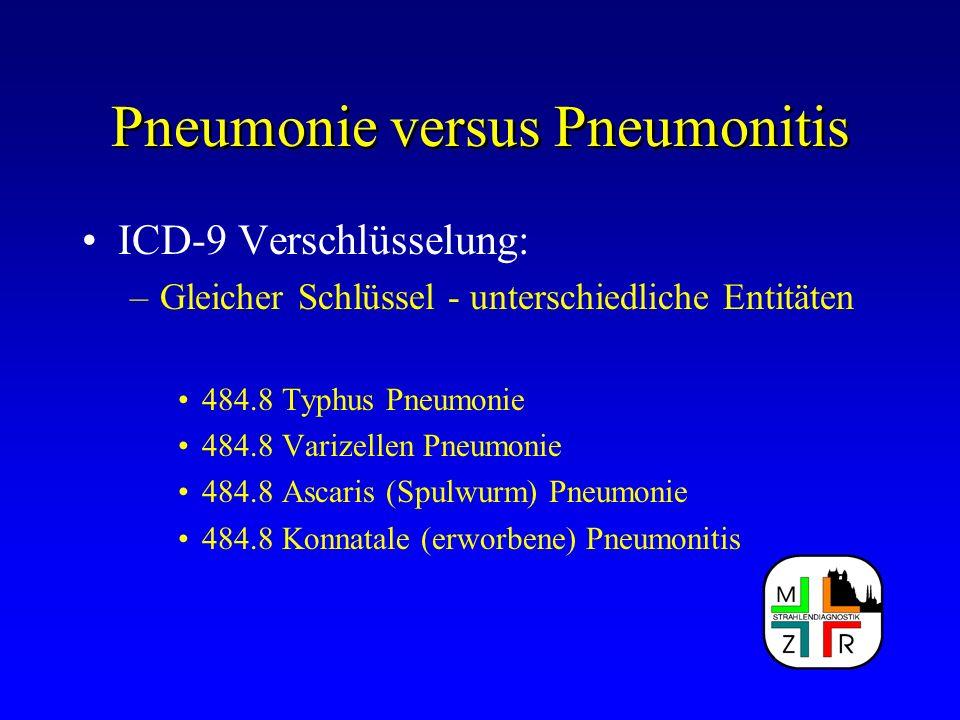 Pneumonie versus Pneumonitis ICD-9 Verschlüsselung: –Gleicher Schlüssel - unterschiedliche Entitäten 484.8 Typhus Pneumonie 484.8 Varizellen Pneumonie