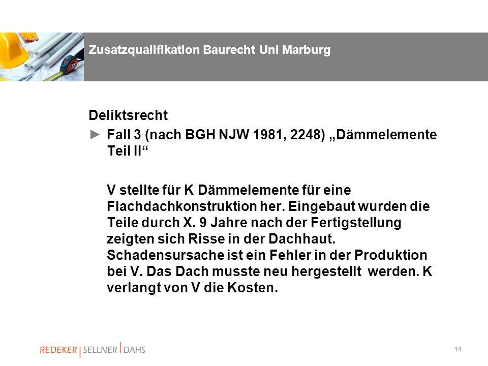 14 Zusatzqualifikation Baurecht Uni Marburg Deliktsrecht Fall 3 (nach BGH NJW 1981, 2248) Dämmelemente Teil II V stellte für K Dämmelemente für eine F