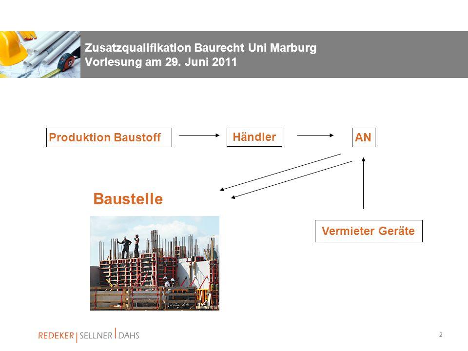 2 Zusatzqualifikation Baurecht Uni Marburg Vorlesung am 29. Juni 2011 Produktion Baustoff Händler AN Vermieter Geräte Baustelle