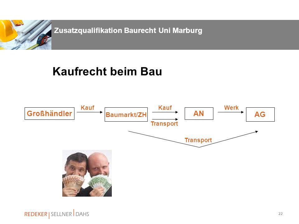 22 Zusatzqualifikation Baurecht Uni Marburg Großhändler Baumarkt/ZH AN AG Kaufrecht beim Bau Kauf Werk Transport
